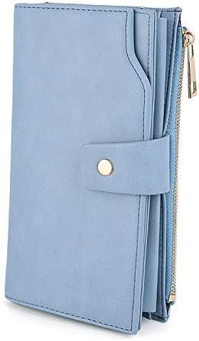 UTO Damen RFID Blocking große Kapazität Vegan Leder Clutch Wallet 21 Card Slots Halter Organizer Damen Veganrse mit Armband hellblau