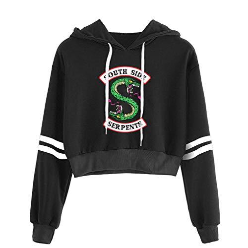 Memoryee Casual Girls Hoodie Riverdale Sport Crop Top Southside Serpents Print Womens Long Sleeve Pullover Sweatshirt Jumper Black4 L (Southside-shops)