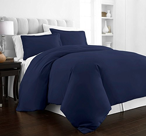 Beckham Hotel Collection Luxury Soft Brushed 2100 Series Microfiber Duvet Cover Set - Hypoallergenic - Full/Queen - Navy