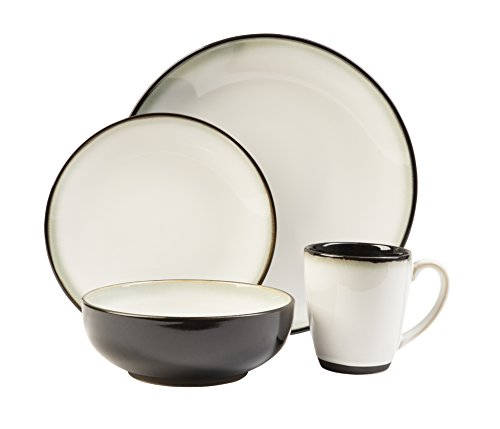 (Sango Nova Black 16 Piece Set, Including 4 Dinner Plates, 4 Salad Plates, 4 Bowls, and 4 Coffee)