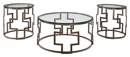 Ashley Furniture Signature Design - Frostine Coffee Table Set - Cocktail Table and Two End Tables - Contemporary Style - Dark Bronze Finish