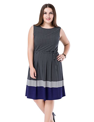 Chicwe Women's Plus Size Printed Chevron Border Sleeveless Dress - Knee Length Casual Party and Work Dress 20 ()