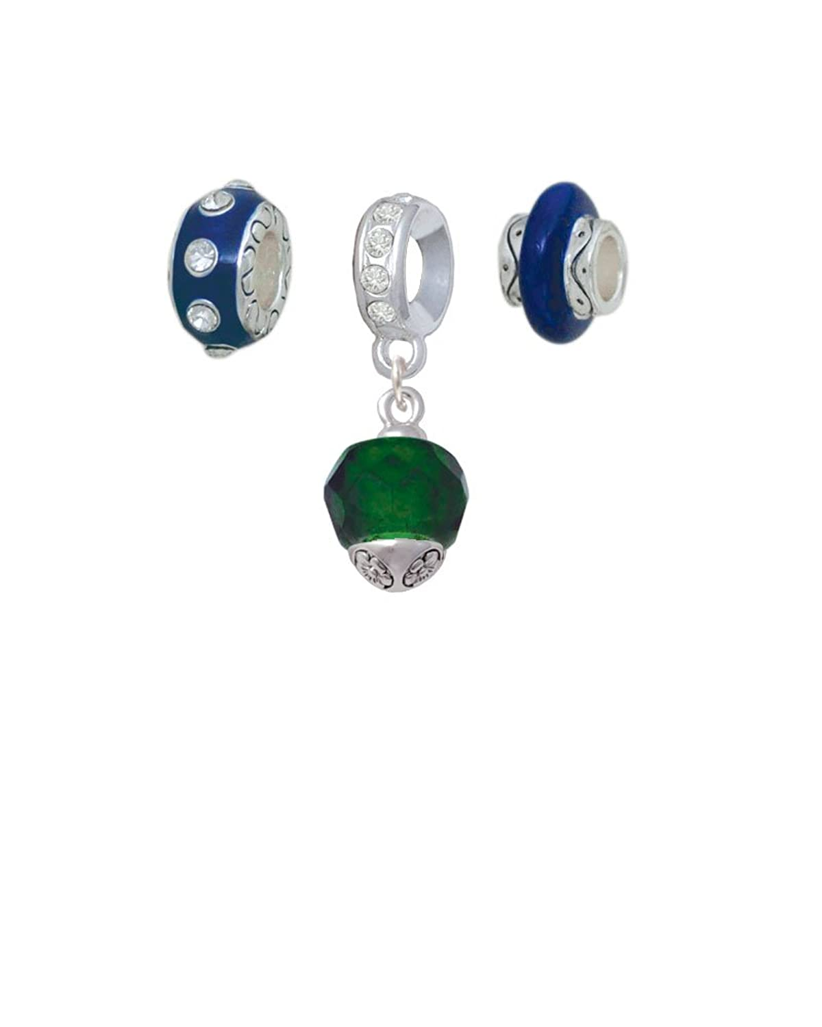 12mm Faceted Glass Spinner Navy Charm Beads (Set of 3)