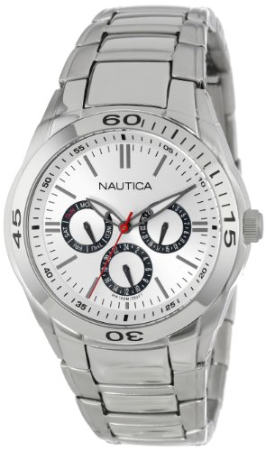 Nautica Men's N13621G NAC 100 Classic Stainless Steel Watch with Link Bracelet