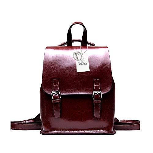 Wax Dark for Women School Girls Backpack Vintage Bag Multifunction Coffee for Yoome Bga Oil Travel Leather Purse qFEHWfCx