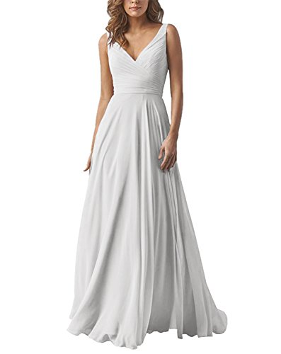 Chiffon V-neck Bridesmaid Dress (Kevins Bridal Line Double V-Neck Bridesmaid Dress Chiffon Long Wedding Evening Dress Ivory Size 24W)