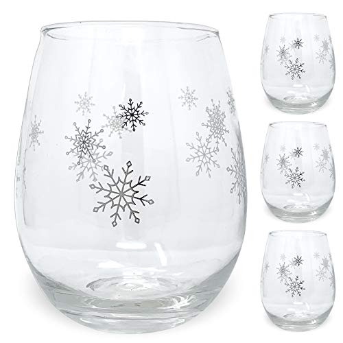 Winter Wine Glass Set - Set of 4 Stemless Glasses with Silver Snowflake Designs - 14oz]()