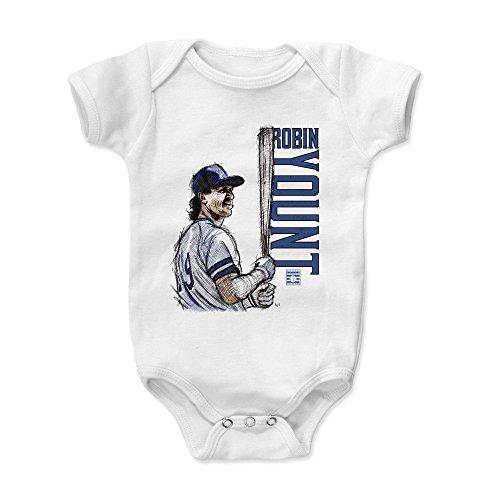 500 LEVEL Robin Yount Baby Clothes, Onesie, Creeper, Bodysuit 12-18 Months White - Vintage Milwaukee Baseball Baby Clothes - Robin Yount Sketch The Club B (Brewers Baseball Milwaukee White)
