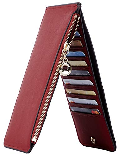 NapaWalli Womens RFID Blocking Genuine Leather Multi Card Organizer Wallet with Zipper Pocket (Chic Red Deep)