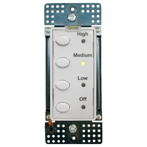 Simply Automated UPB 3-Speed Fan Controller with 4 Oval Buttons (UCQF-W)