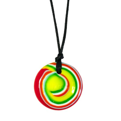 Disc Pendant - Rock n Roll - Chew Necklace for Sensory, Oral Motor, Anxiety, Autism, ADHD