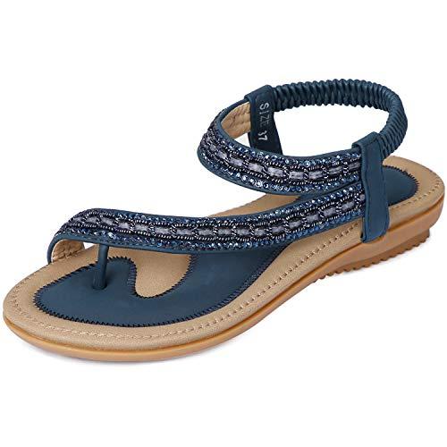 Navy Blue Sandals - ZOEREA Women Sandals Shoes Flip Flops Ankle Strap Summer Sandals (9 M US, Navy)