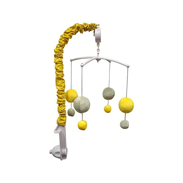 Bacati – Dots/pin Stripes Grey/Yellow Musical Mobile
