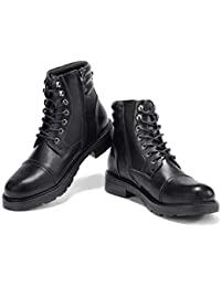 Men's Motorcycle Work Dress Boots - Lace Up Zip Cap Toe Ankle Boot Military Tactical Combat Hiking Botas Invierno...