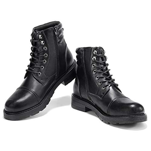 GM GOLAIMAN Men's Work Boots-Lace Up Zip Cap Toe Boot for Military Tactical Combat Motorcycle Hiking 10 M US, G11 Black Ankle Boots Side Zipper
