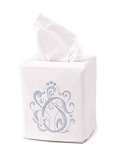 Jacaranda Living Linen/Cotton Tissue Box Cover, English Scroll, Duck Egg Blue