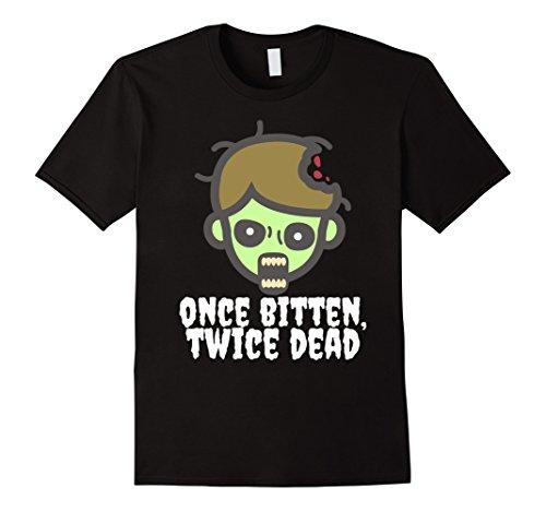 Mens Once Bitten, Twice Dead Halloween Undead Zombie T-Shirt Small (Twice Bitten Costume)