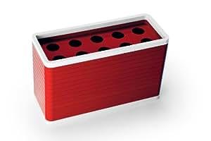 Qualy QL10028R Umbrella Rack - Paragüero (capacidad para 10 paraguas, 50 x 20 x 30 cm, plástico), color rojo