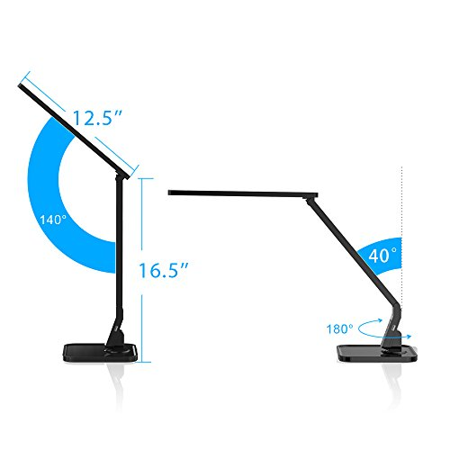 LED Desk Lamp Fugetek FT-L798, 5-Level Dimmer, Touch Control Panel, 1-Hour Auto Timer, 5V/1A USB Charging Port - Jet Black (Black) by Fugetek (Image #4)