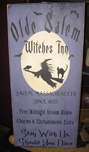 Adonis554Dan Olde Salem Witches Inn Primitive Witch Wiccan Halloween Sign Wood Wall Decor Pagan Black Magic Plaque Witchcraft Decor ()
