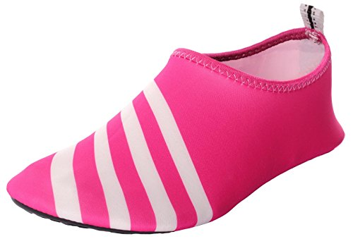 Caihee Dames En Heren Lichtgewicht Sneldrogende Slip Op Waterschoenen Aqua Barefoot Skin Shoes Red3