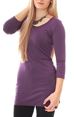 Camiseta de Manga Larga para Mujer, con cuello redondo Uni morado