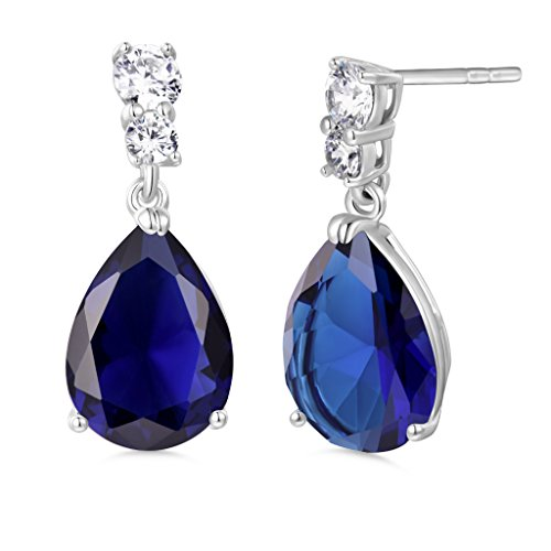 GULICX Silver Tone Sapphire Color Pear Drop Promise Party Dangle Earrings Blue