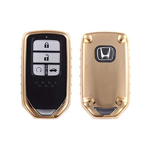 Gold Accord (QIAOBA TPU Fall Car Key Soft Plating Protection Shell Case Cover for Honda (Gold))