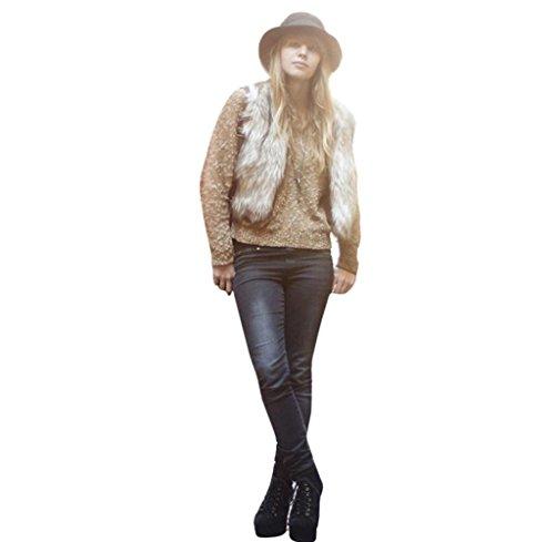 Tongshi Abrigo de piel sintética de chaleco sin mangas V-collar Outwear el chaleco de la chaqueta de las mujeres