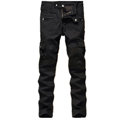 (Men's Black Biker Jeans Slim Straight Stretch Skinny Fit Moto Denim)