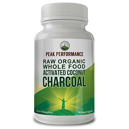 Raw Organic Whole Food Activated Charcoal by Peak Performance. for Detoxification, Gas Relief, Bloating, and Teeth Whitening. Made from Wild Harvested Organic Coconut Shells. (1 Pack) (1 Pack)