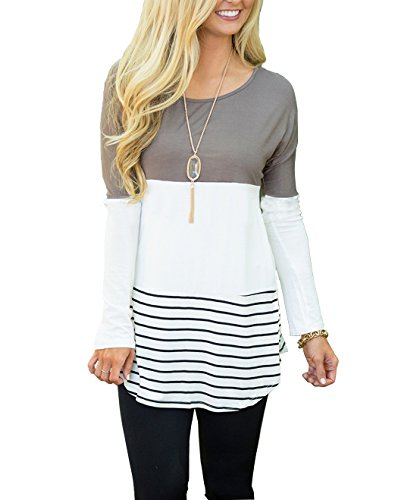 Hount Womens Back Lace Color Block Tunic Tops Long Sleeve T-Shirts Blouses With Striped Hem (Large, Grey) (Long T-shirt Striped)