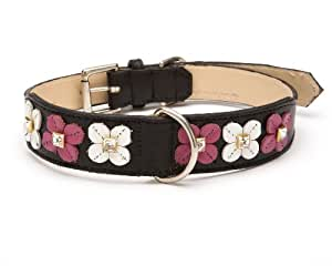 Flower Stitch Tapered Dog Collar, Medium Size 11-14, Black with Pink and White Crystal Flowers