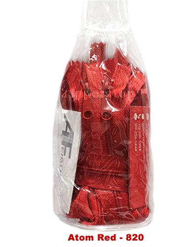 (Zipperstop - Fashion Trends YKK #4.5 Handbag Long Pull Zippers Sewer Crafter's Special - Made in USA pack in White Cord W/Piping Vinyl Cylinder Bag (24 Inch 10 Zippers, Atom Red - 820))