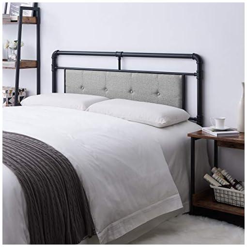 Bedroom Kristin Modern Industrial Upholstered Queen Headboard, Gray and Flat Black modern headboards