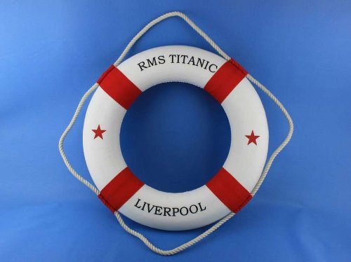 RMS Titanic Lifering 20'' - Red Life Ring Decor Beach Interior Decorating Beach
