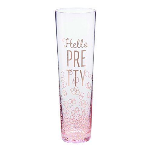 Plum and Punch Stemless Champagne Flute Glass,Hello, Pretty, Pink, 9 oz