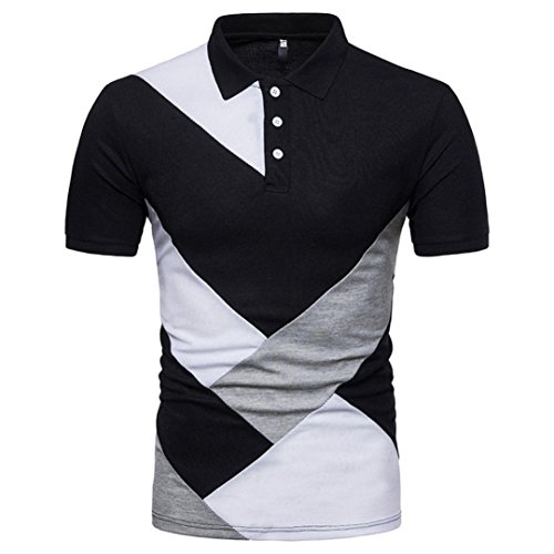 GREFER Men's Slim Button Patchwork Short Sleeve Polo Shirt T Shirt Top Blouse (M, Black)