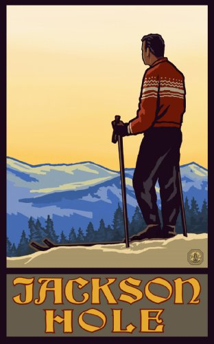 Northwest Art Mall Jackson Hole Wyoming Man Skier Looking Over Valley Poster, 11-Inch by - Wyoming Valley Mall