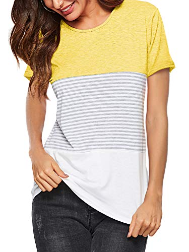 Amoretu Womens Short Sleeve Striped Color Block Tunic Tops for Summer Yellow XL