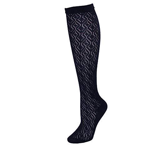 (Jefferies Socks Girls' Little Pointelle Pattern Knee High Socks 2 Pair Pack, Navy, Small)