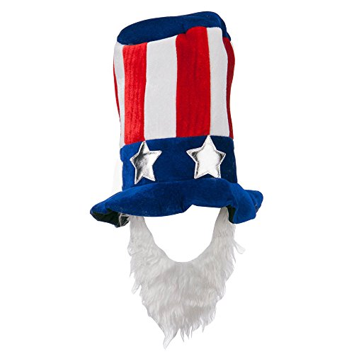 Uncle Sam Velvet Hat with Beard - Blue OSFM