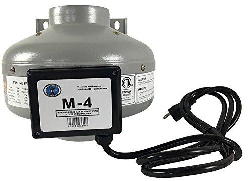 """Tjernlund M-4 Metal Inline Duct Fan, 200 CFM, 4"""""""