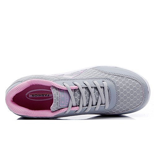 Le Donne Enllerviid Allacciano Le Scarpe Da Ginnastica Leggere In Mesh A Forma Di Sneakers Fashion Platform 2716 Grigie