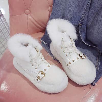 JUWOJIAXZ Mesdames des Bottes d'hiver La Mode Chaussures Boucle Plus Chaud Velours Chaussures Mode Coton Épais Sauvages 35 White 64241c