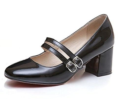Mofri Women's Sexy Buckle Double Strap Square Toe Medium Block Heels Mary Jane Pumps Shoes (Black, 8 B(M) - Mary Jane Shoe Block Heel