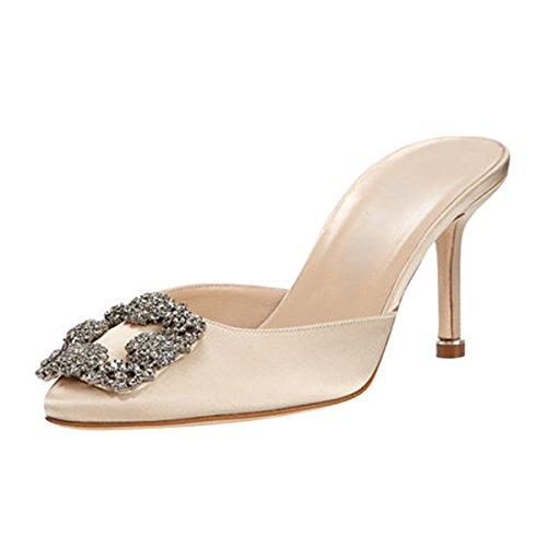 Mavirs Women's Satin Pointy Toe Slip On Sandals Rhinestones Kitten Heels Pumps Jeweled Slingback Mule Slippers 11 M US
