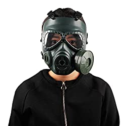 Cocohot Full-covered Gas Mask Helmet Men Women PC Lens Adjustable Shock Resistance Dust Face Guard With Single Fan for CS