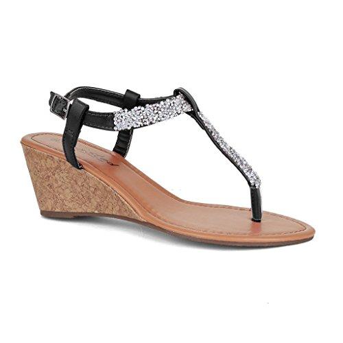 Twisted Women's RILEY Wedged Glitter Strap Sandal - BLACK, Size 6.5