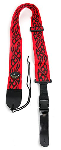 Red & Black Flame Guitar Controller Strap For Guitar Hero & Rock Band Guitars On PS3, PS2, Xbox 360 & Wii (Compatible With Guitar Hero: Warriors of Rock, 6, 5, 4, 3, 2 & 1) (Rock Band Guitar Strap)